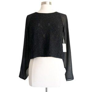 1. State Black Lace Chiffon Long Sleeve Crop Top S